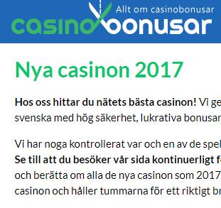 Bonusar på nya casinon